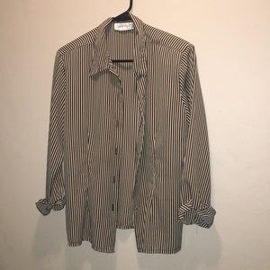 Vintage pin stripe black and white button up